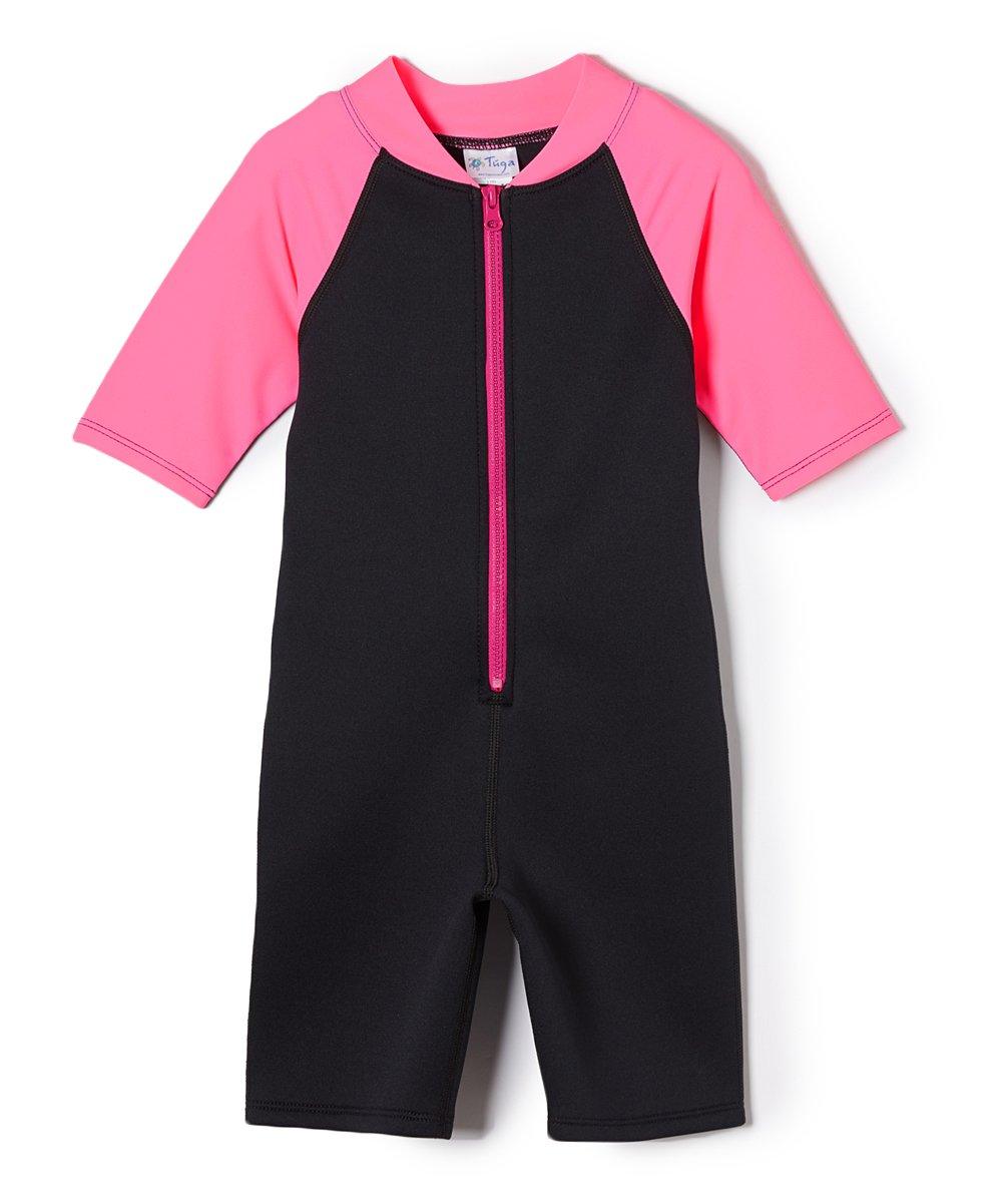 Tuga Girls Shorty 1.5mm Neoprene/Spandex Wetsuit (UPF 50+), Bubblegum, S (7/8 yrs) by Tuga Sunwear