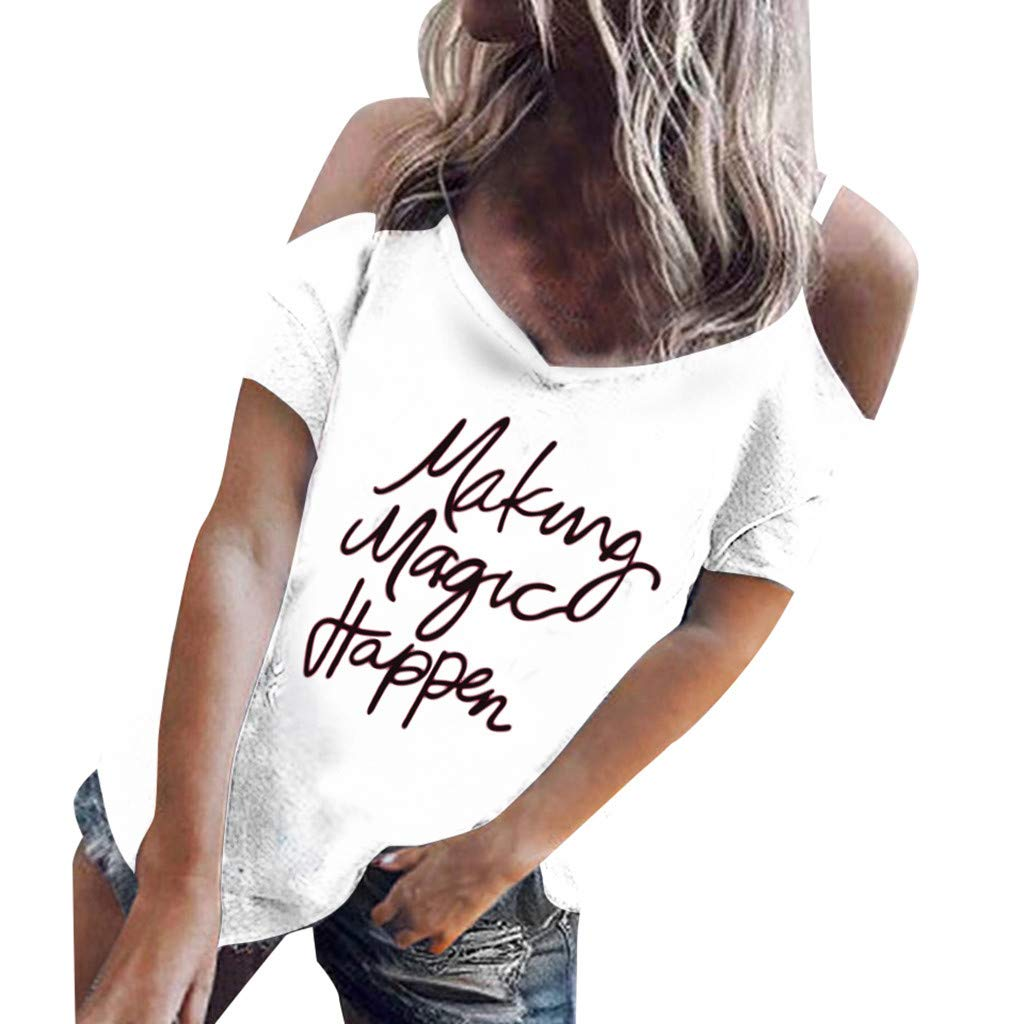 TWGONE Making Magic Happen Shirt Women V Neck Off Shoulder Letter Print Short Sleeve Loose Tops Blouse(X-Large,White)