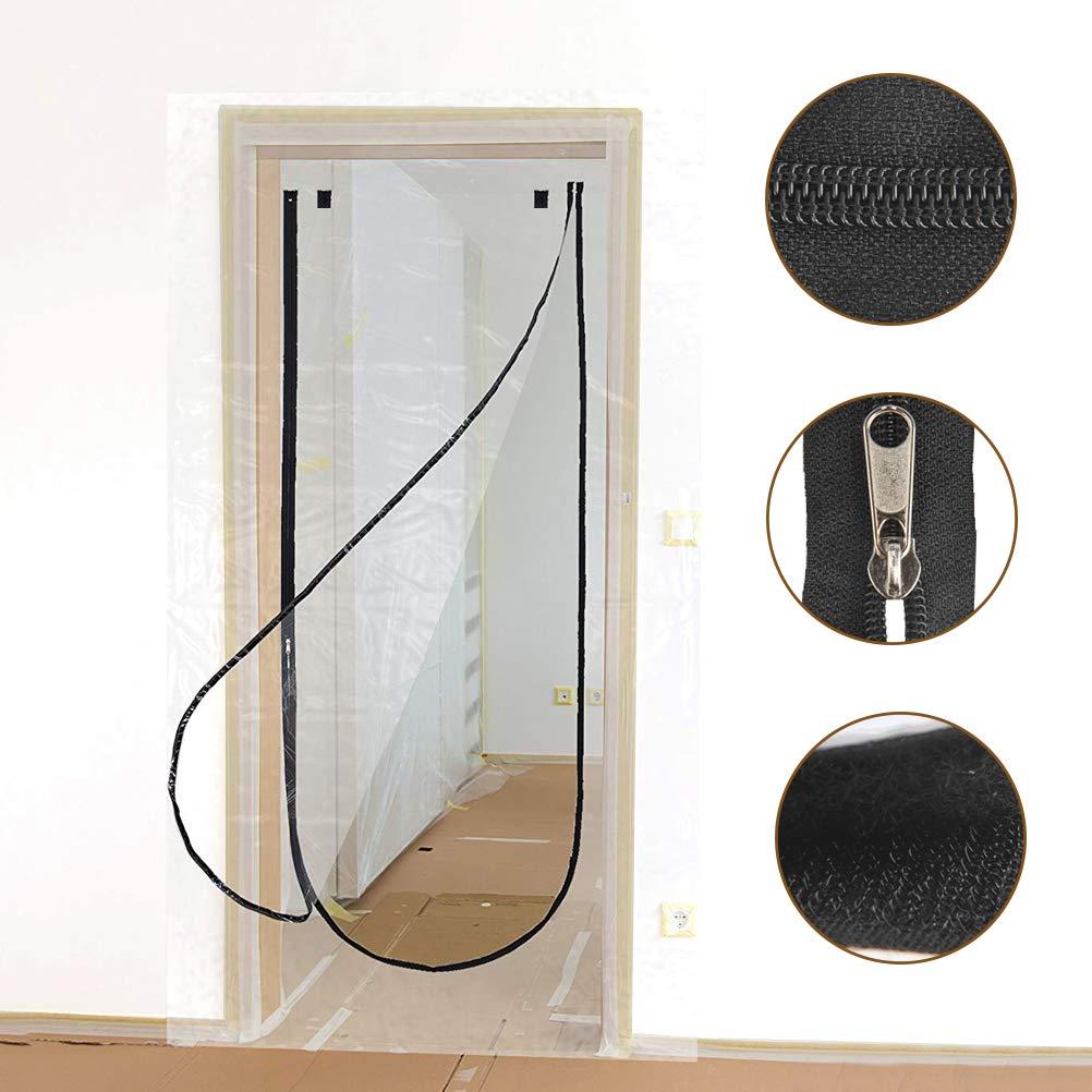 """TIMESETL 43"""" x 83"""" Zip Door Dust Barriers U Shape Dust Stop Door Guard Protection Kit for Dust Containment"""