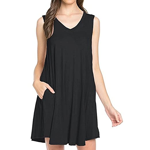800d014c3b TINYHI Women s Simple Fit Tunic V-Neck Casual Swing T-Shirt Dress at ...