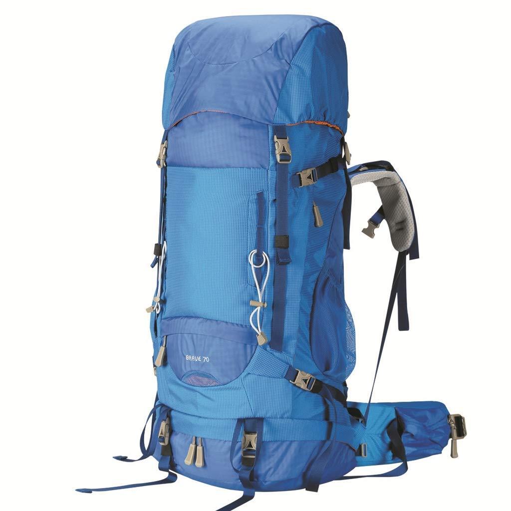 登山バッグショルダー70L旅行バッグハイキングアウトドアバッグ大容量旅行バックパック(青) (色 : A)  A B07GZKTG3D