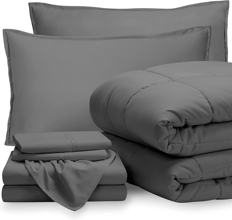 Bare Home Bedding Set 7 Piece Comforter & Sheet Set - Full XL - Goose Down Alternative - Ultra-Soft 1800 Premium Bed Set (Full XL, Grey/Grey)