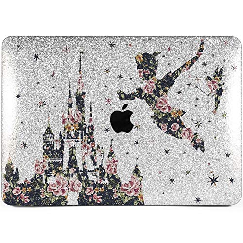 Lex Altern Glitter MacBook Air Case 13 inch Mac Pro 15 12 11 2018 2017 Cute Disney Floral Castle Flower Silver Crystal Peter Pan Retina Bling Cover Hard 2016 Shiny 2015 Protective Girl Vintage Print -