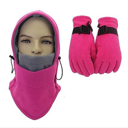Unisex Sciare Cappello da Caccia Trooper 2 pezzi guanti da passamontagna  set sci maschera faccia antivento 46445c9f6671