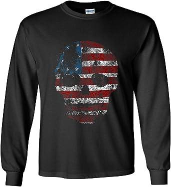 Live Free Or Die Patriotic American Biker Skull USA Flag T-Shirt Tee