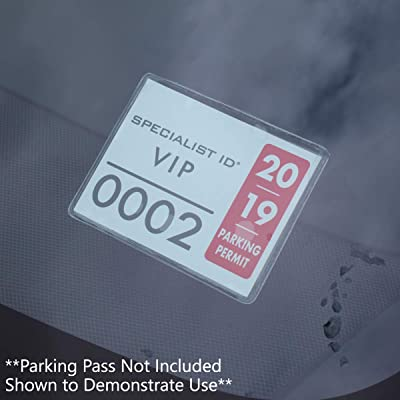 2 Pack - Parking Permit Holder for Car Windshield - Clear Adhesive Parking Tag Pouch - Vinyl Plastic Document Protector Holds Large Parking Placard, Pass, Decal or Sticker (4 x 3) by Specialist ID: Office Products