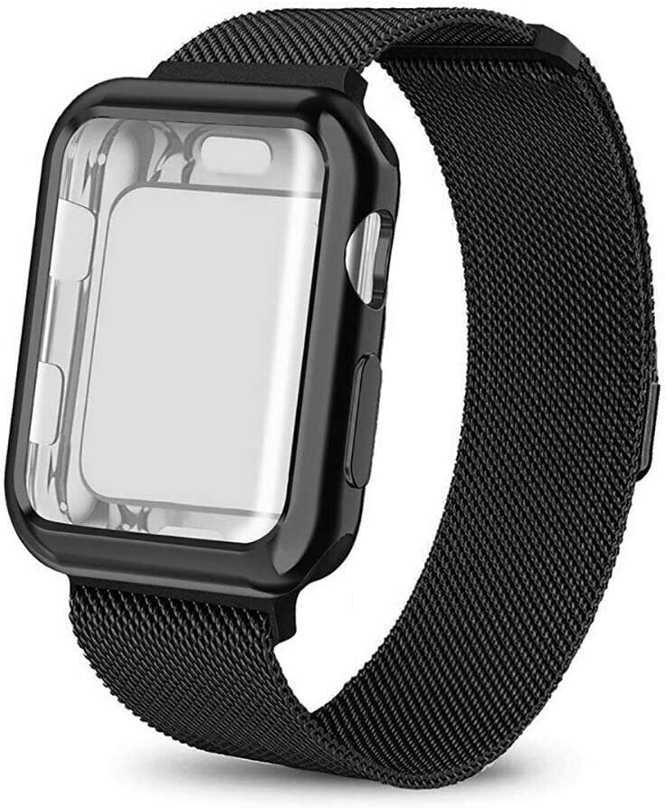 amhello Stainless Steel Magnetic Loop Band with Watch Face Case Compatible with Apple Watch 42 mm All Models, Strap Metal Mesh Wristband Sport fit for Aple Watch 42mm Series SE 5 6 4 3 2 1 Black
