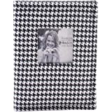 Pinnacle Frames and Accents Black and White Houndstooth 36-Pocket Photo Album with Frame Front