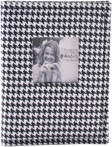 Pinnacle Frames and Accents Black and White Houndstooth 36 Pocket Photo Album with Frame - Accent Houndstooth