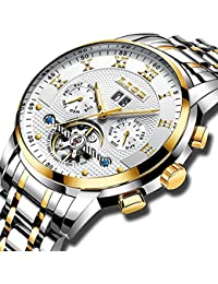 Watches Mens Full Steel Mechanical Wrist Watch Men Luxury Brand LIGE Waterproof Date Business White Gold Watch