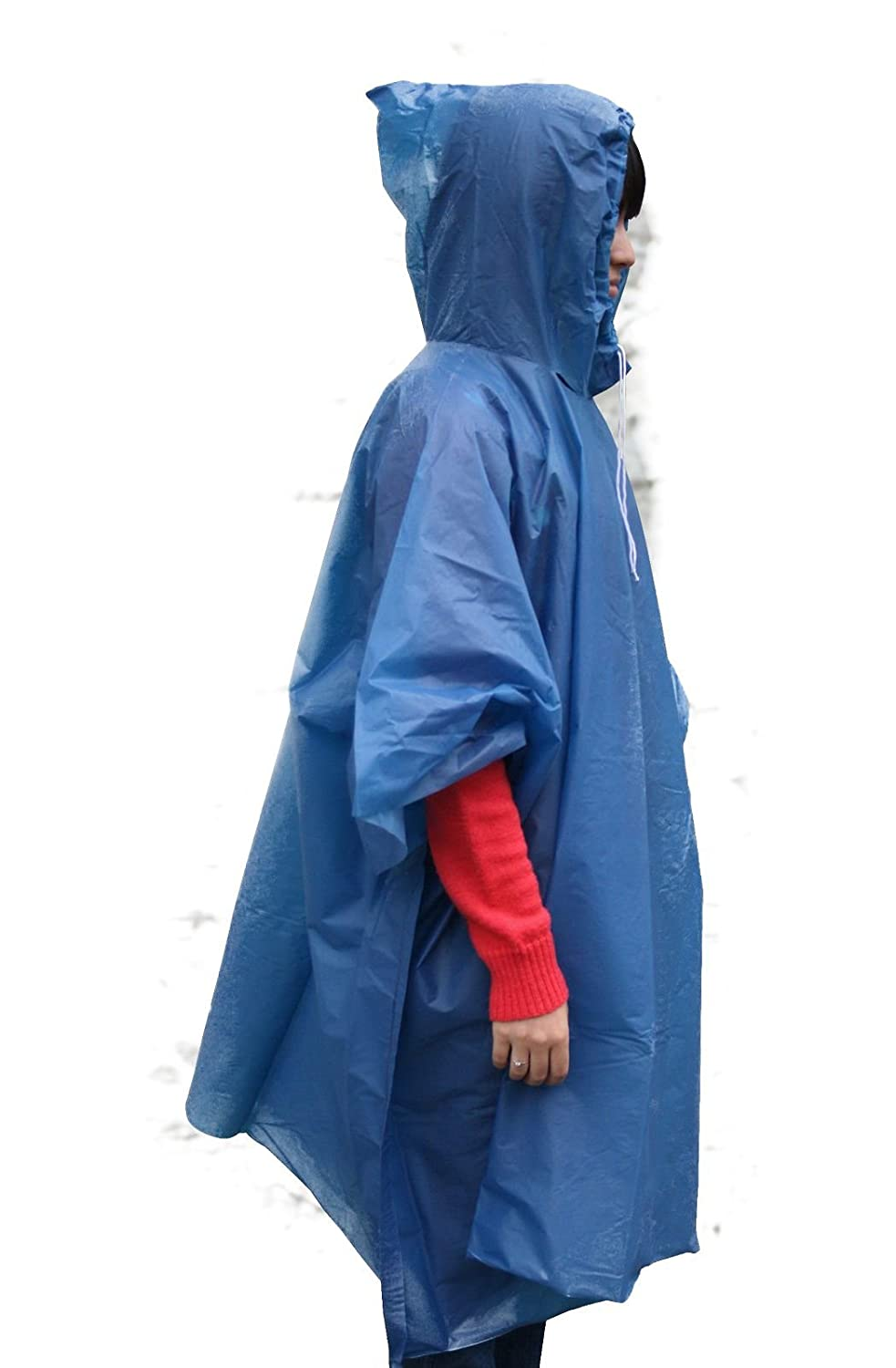 Hooded Rain Poncho with Drawstring Blue by Wagner Automaten
