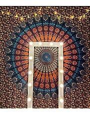 بساط إنليتند سول الدافئ - متعدد الوظائف للتعليق على الحائط فن هندي لديكور المنزل وغرفة النوم وديكور غرفة المعيشة والشرفة وغرفة شفافة بفاصل