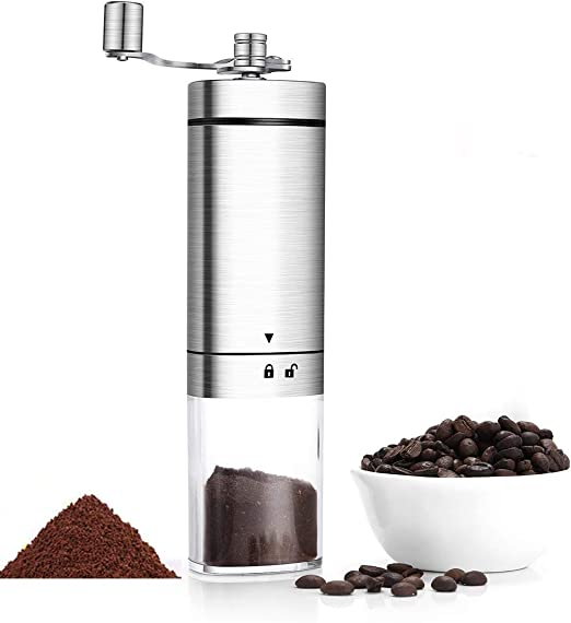 Manual Coffee Grinder Adjustable Ceramic Conical Burr Stainless Steel Triangle