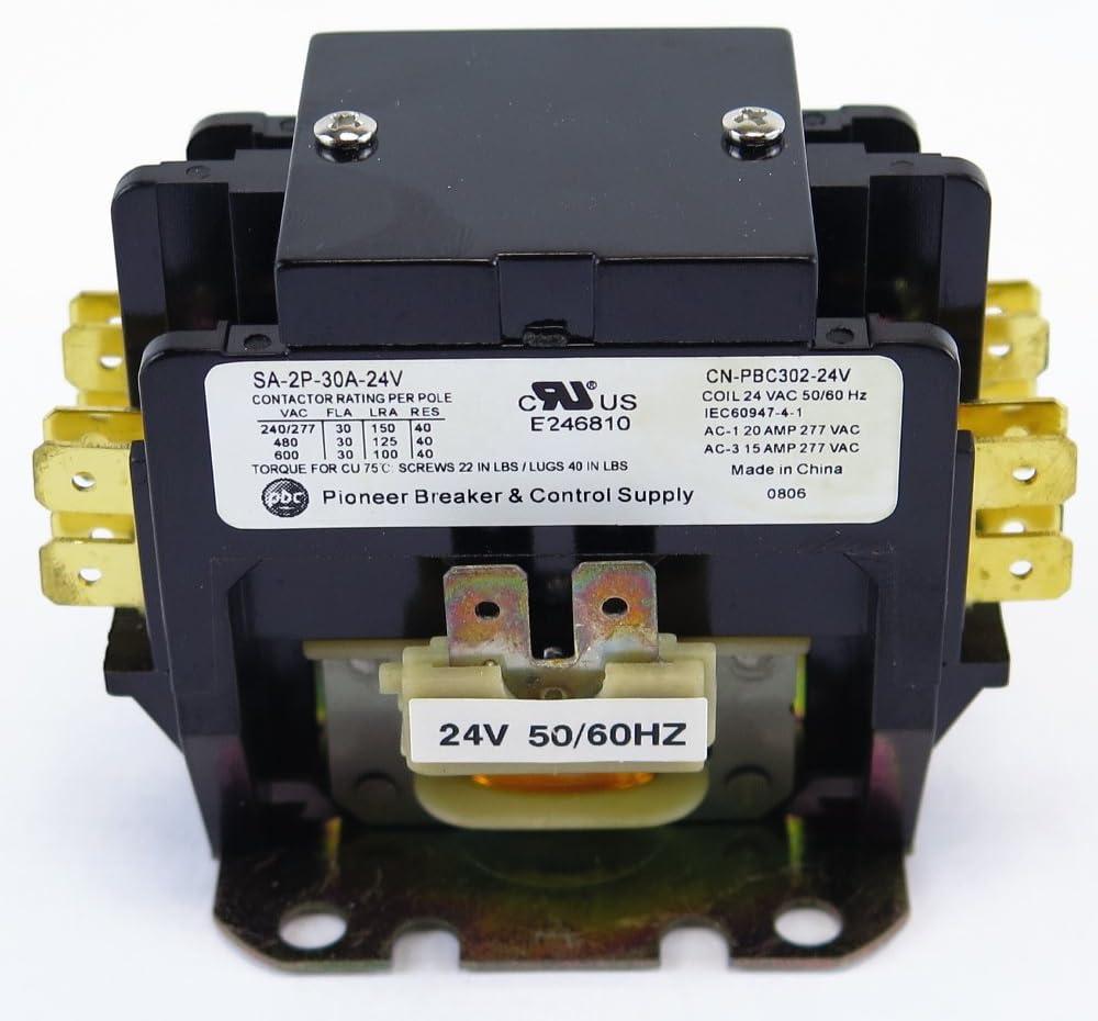 Pieces YC-CN-302-1 HVAC CONTACTOR 30AMP 2POLE 24V AC Fits DP30C2P-F 5