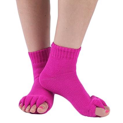 Sukisuki 1 par de Calcetines separadores de Dedos para Yoga, Gimnasio, Masaje, Cinco
