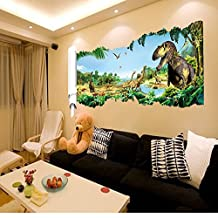 Dushang 3D Dinosaur Paradise Creative Wall Sticker 3D Removable PVC Home Decor Bedroom Sticker Wall Decals
