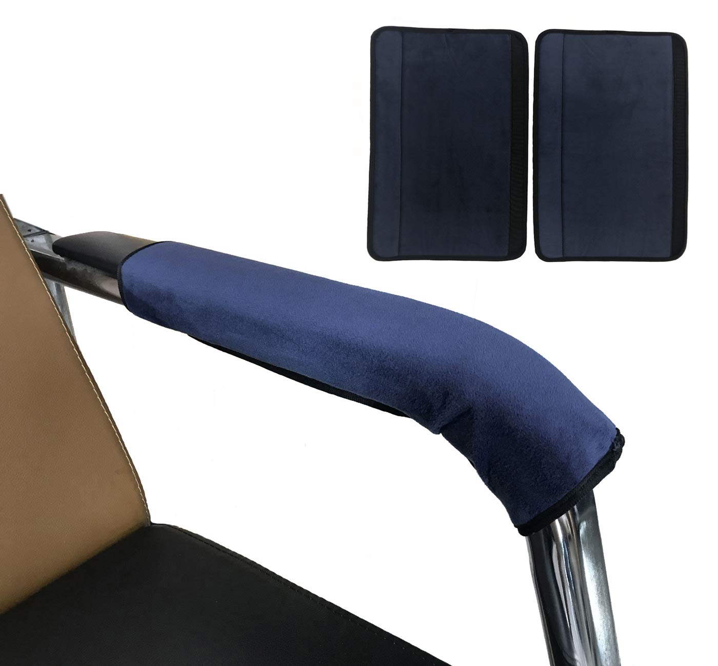 Wakaka 2 Pieces Office Home Polyester Removable Durable Machine Washable Office Chair Armrest Slipcovers Covers … (Blue)