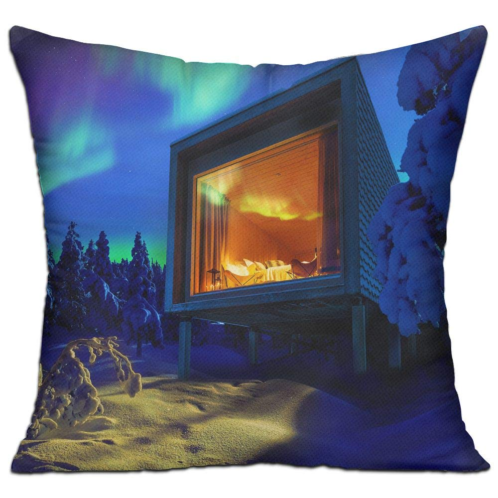Shing Modern Architecture Nature Landscape Winter Snow Night Lights Aurorae Cabin Hotel Trees Stars Lapland Finland Double Side Print Sofa Decor White One Size Throw Pillow Square 18'' X 18''inch