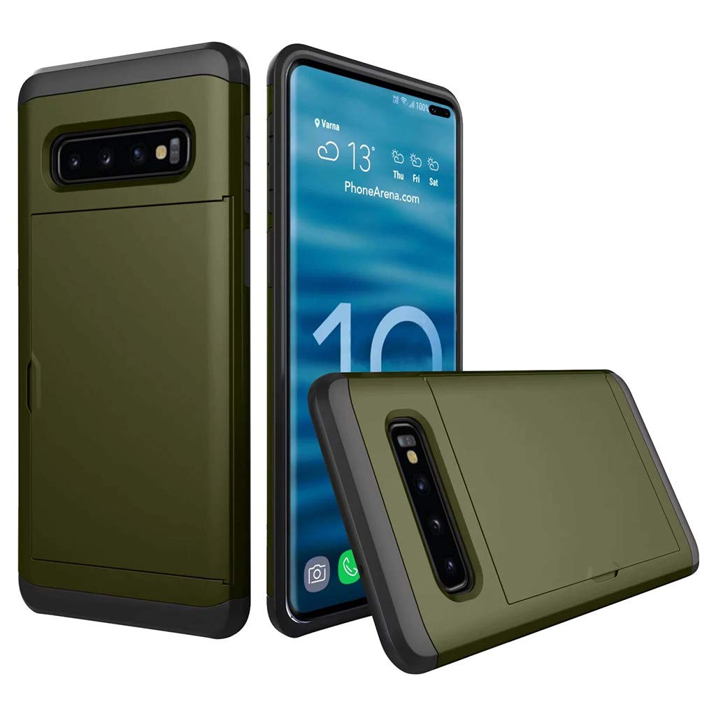 Cyhulu Samsung Galaxy Phone S10 Plus Case, Hot New Brushed Hard PC+Silicone Case Cover Card Holder for Samsung Galaxy S10 Plus 6.4 inch, 11 Color Available (Army Green, One size)