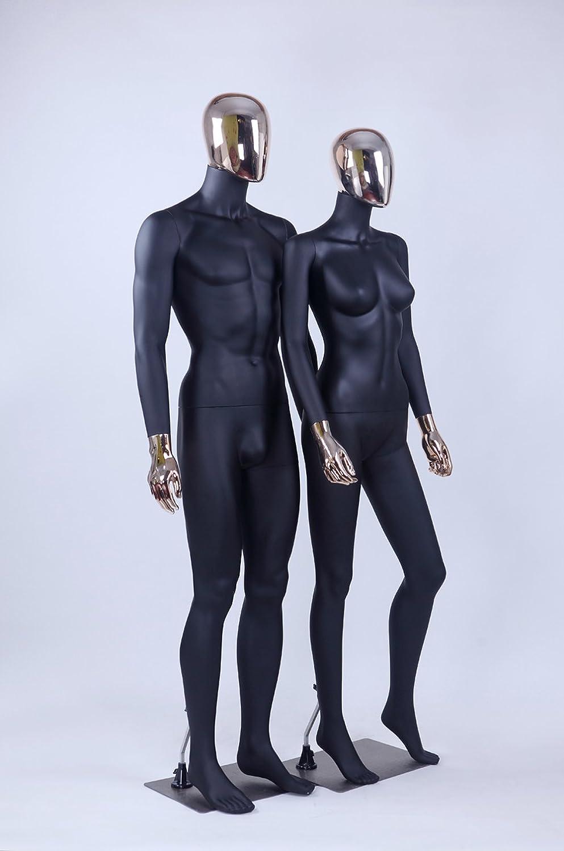 M1-M1-1-DD Mann Eurohandisplay bella astratta nero opaco manichino Galvanotecnica testa e mani verniciate Nuovo maschile femmina