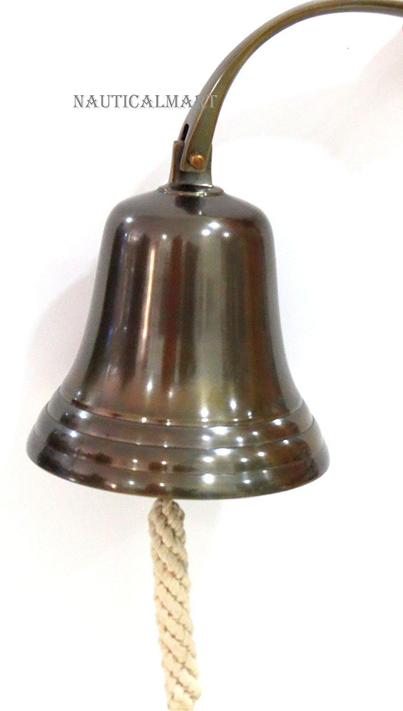 NAUTICALMART Aluminum Antique Finish Nautical Ship Bell - Dark Antique