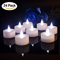 Pack of 24, Working Hour 100+, LED Tea Light Candles Flameless Fake Candles White Flickering Flame For Wedding Birthday Party Indoor Home Decor