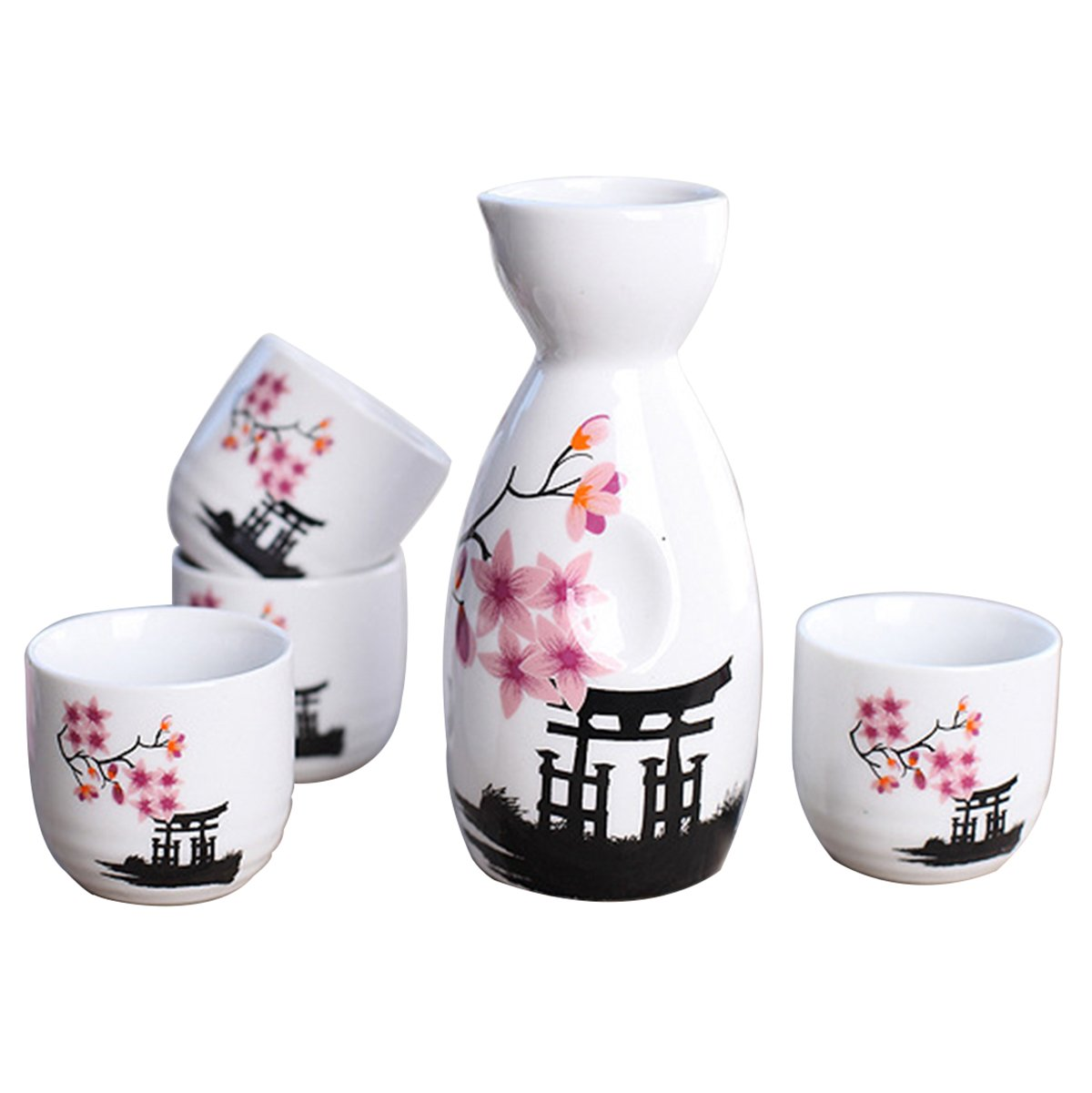 Tosnail 5 pcs Ceramic Japanese Sake Set - Pink Blossom by Tosnail