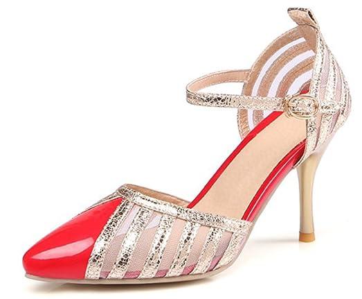 SHOWHOW Damen Offene Zehe High Heels Stilettos Sandalen mit Schnalle Schwarz 37 EU jW3qXEKpcg