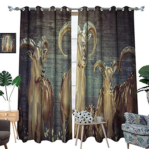 luvoluxhome Window Curtain Drape Decor Curtains for Living Room/Bedroom Capricorn Group of Spanish Ix Under Shade Sunams Animal Nature 72