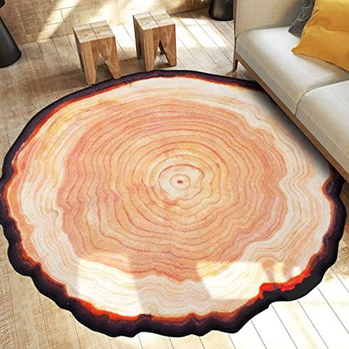 Newrara Modern Country Style Round Tree Annual Ring Shape Area Rug 47.2inch X47.2inch, Brown