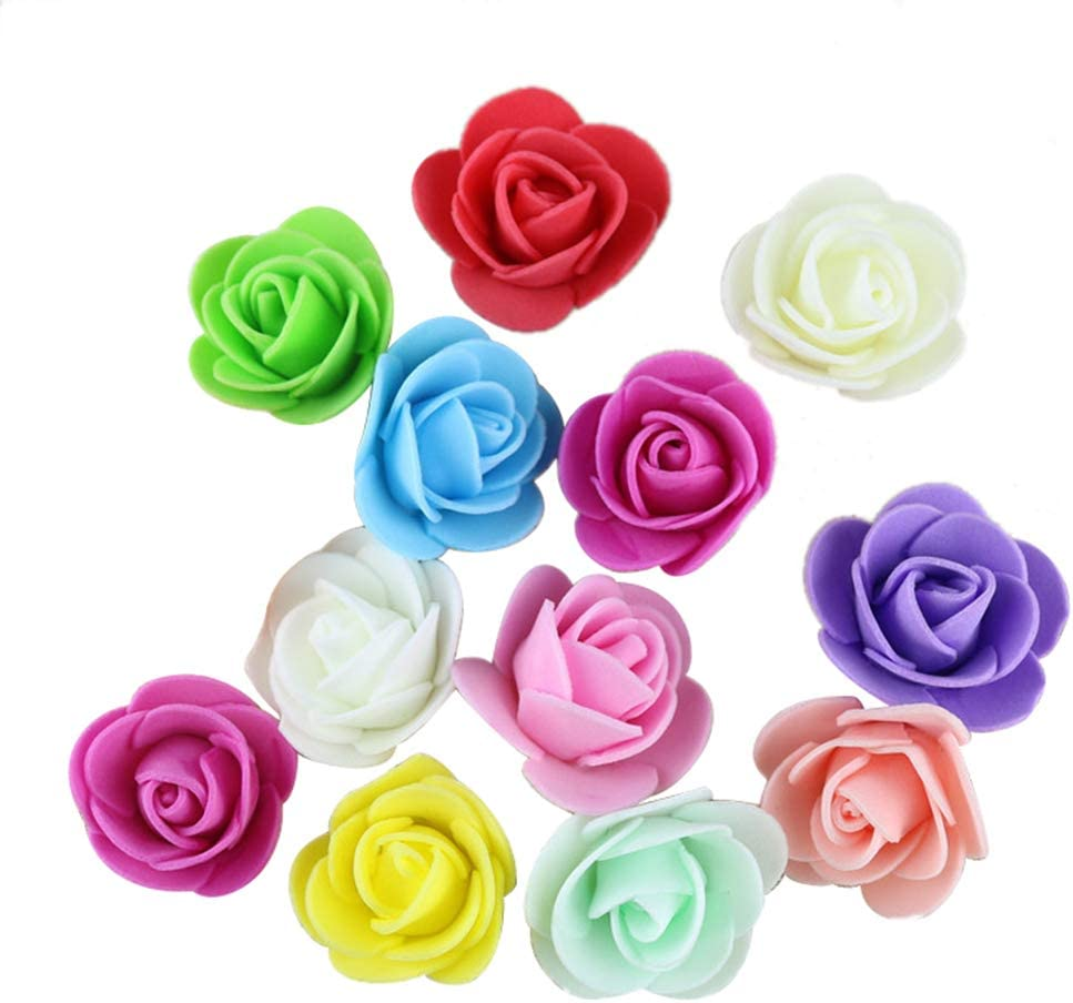 Pack of 50 Blue SoundsBeauty Artificial Flower Foam Mini Roses Home Wedding Party DIY Craft Decor