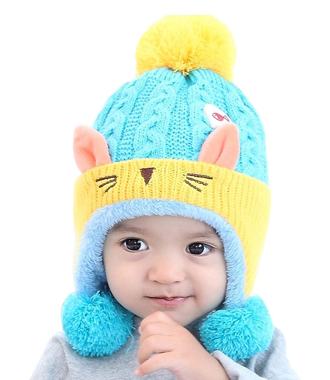 Boys Kids Knit Beanie Hat with Earflap Warm Winter Cap