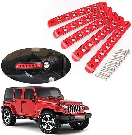 Black Painted Door Knob Grab Handle Tailgate Insert Cover For Jeep Wrangler JK
