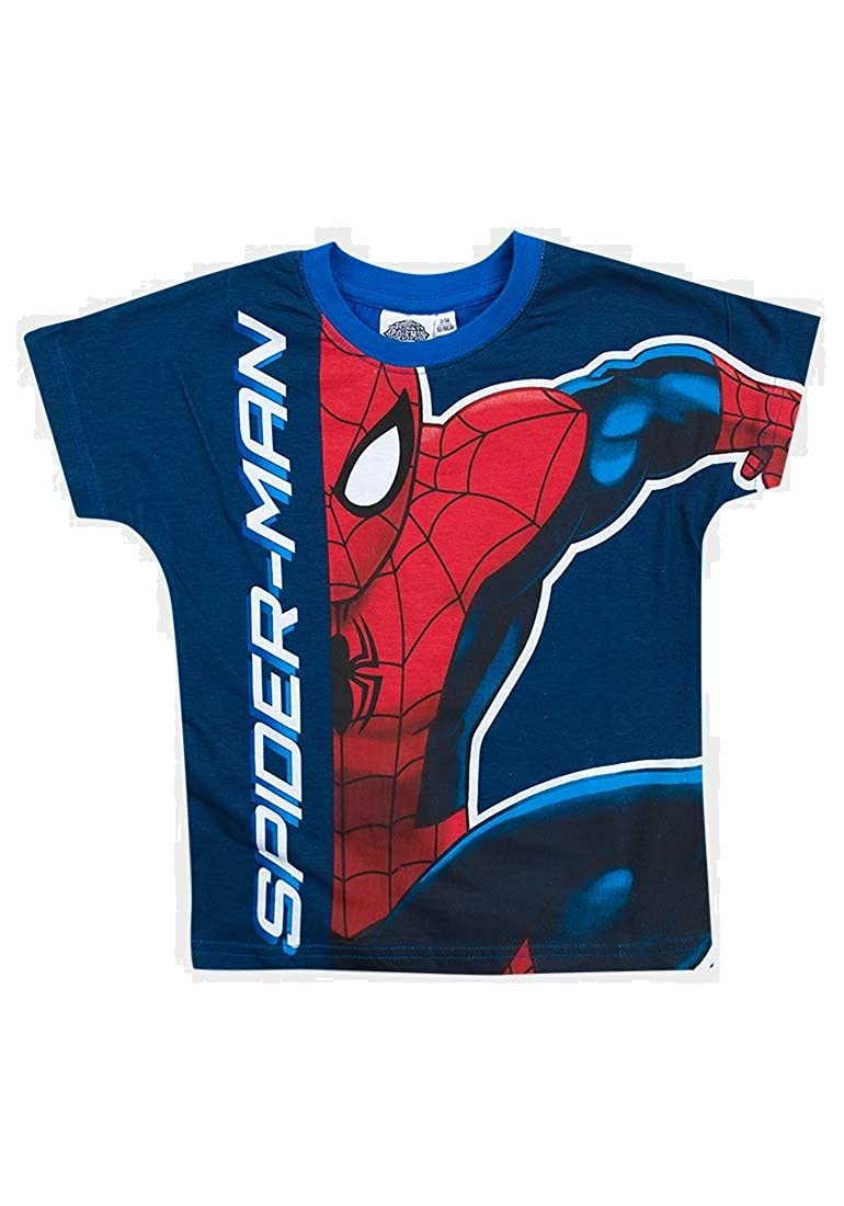 Spiderman Kids Official Licensed Merchandise Blue and Red T Shirts Ages 2-8 Years Available