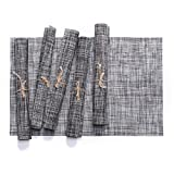 Ytzada Woven Vinyl Placemats Set of 6, Heat Insulation Stain Resistant Placemats Anti-skid Washable PVC Kitchen Table Mats Chritmas, Dinner Parties, BBQ Everyday Use (Dark Grey)