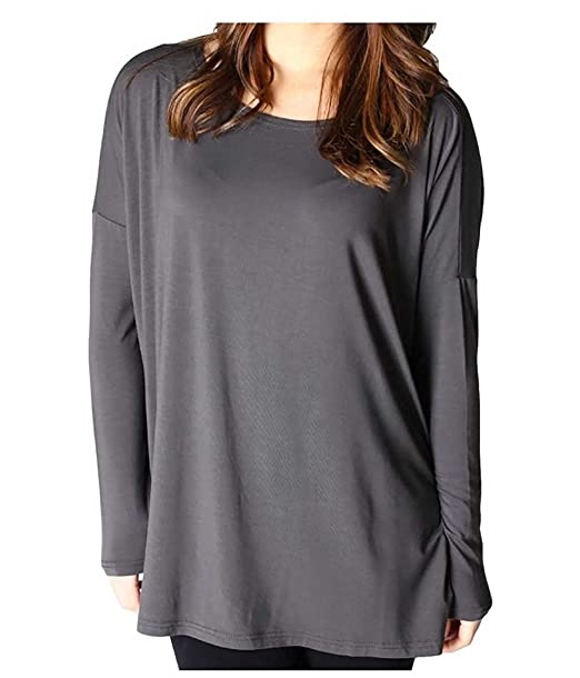 96e2bab7361 Piko Top Style Long Sleeve Womens Missy Plus Tunic Tops Loose Fit Basic  Shirt (Charcoal