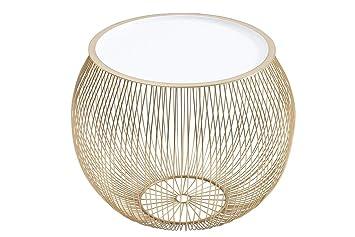 Korbtisch Rund.Dunord Design Beistelltisch Gold Weiß 51cm Metall Rund Korbtisch