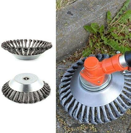 6 Pulgadas Cepillo de maleza Cepillo de rueda de alambre para cortar hierba 25.4 mm x 150 mm Cepillo Redondo para desbrozadoras