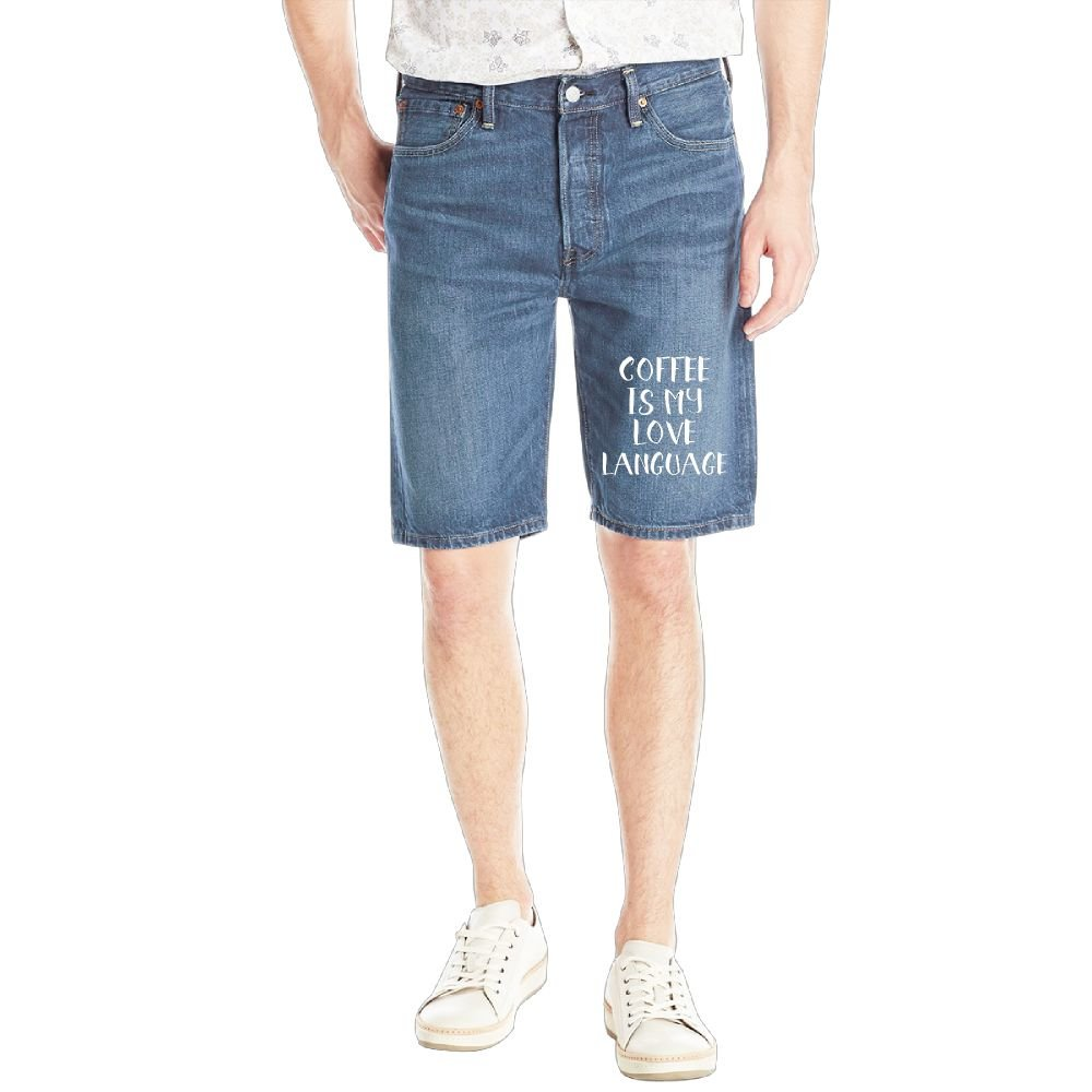 Gongzhiqing Coffee is My Love Language9 Mens Casual Short Denim Jean Pants Cool Casual Jeans Trousers RoyalBlue