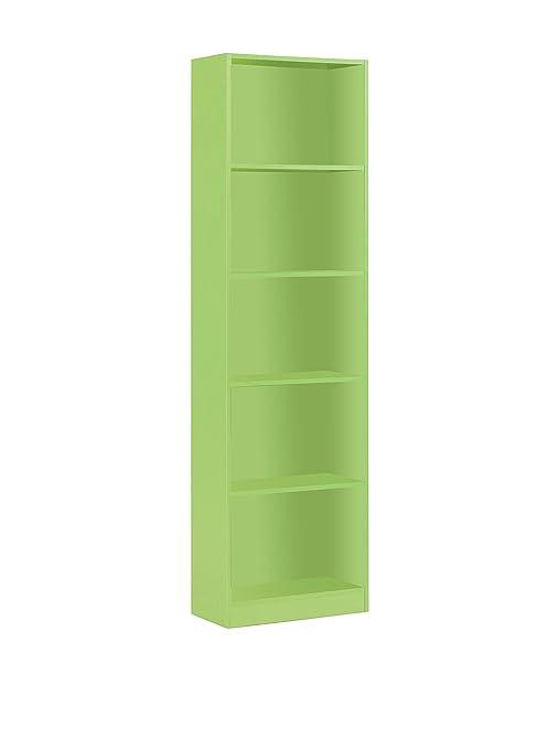 Habitdesign 005422V - Estantería juvenil 6 baldas color verde, dimensiones 180x52x25 cm