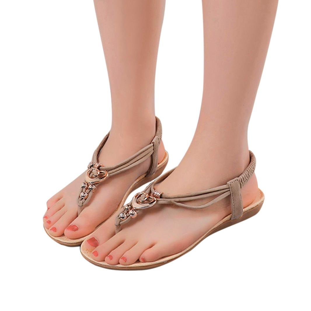 vermers Hot Sale Fashion Women Outdoor Shoes - Girls Bohemia Metal Buckle Heart-Shaped Sandals(US:6, Beige) by vermers