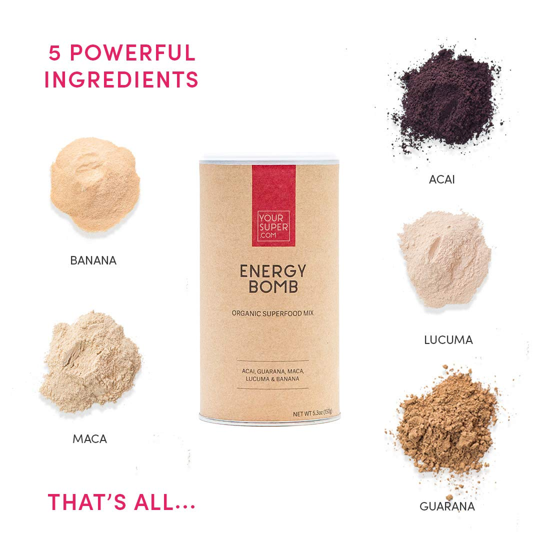 Your Superfoods Organic Vegan Energy Superfood Mix - Healthy Coffee Alternative with Guarana and Acai - Energy boosting smoothie & enhances athletic performance while promoting focus