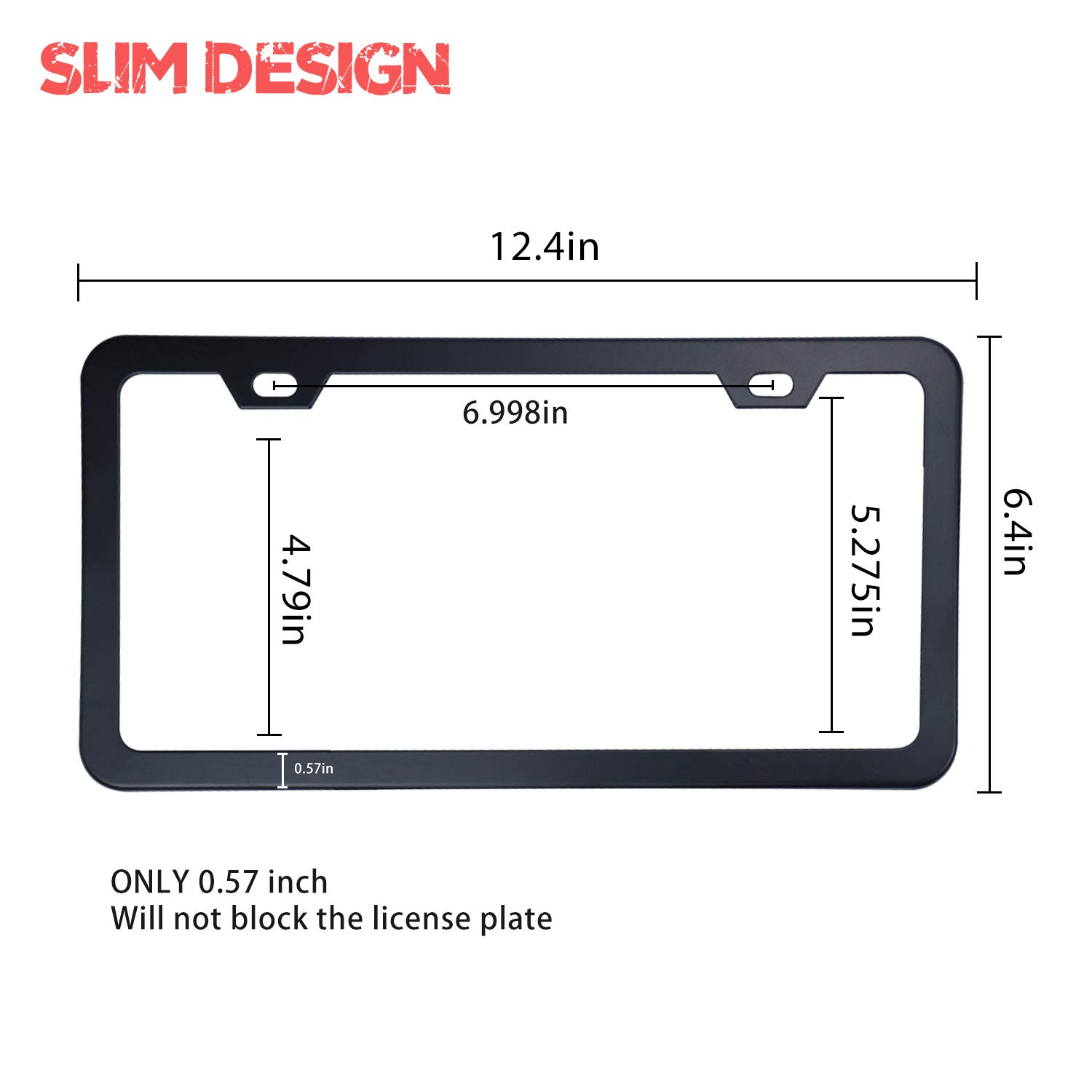 Motorup America Carbon Fiber License Plate Frame Best for Front /& Rear Pack of 2 Auto Accessories Fits Select Vehicles Car Truck Van SUV Bumper Cover Tag Holder