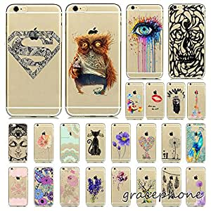 """TopOne Soft Animals Flower Transparent TPU Silicon Case Cover for iPhone 4 5 6 6PLUS 9 Pink Flower For IPhone 6 4.7"""" WHD1242"""