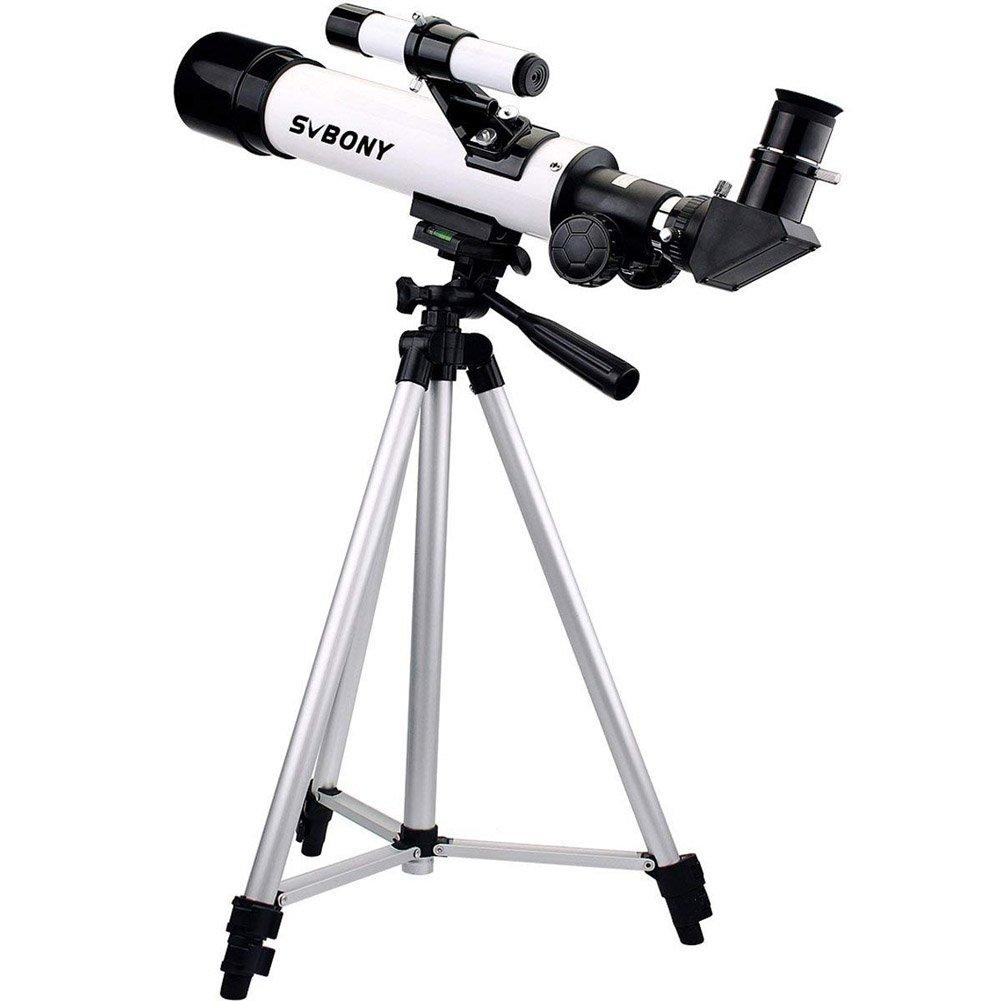 Svbony SV20 Telescopio Rifrattore Astronomico, Treppiede fotografico in lega di alluminio e Adattatore per cellulare (Bianco) EUF9318B-F9140A