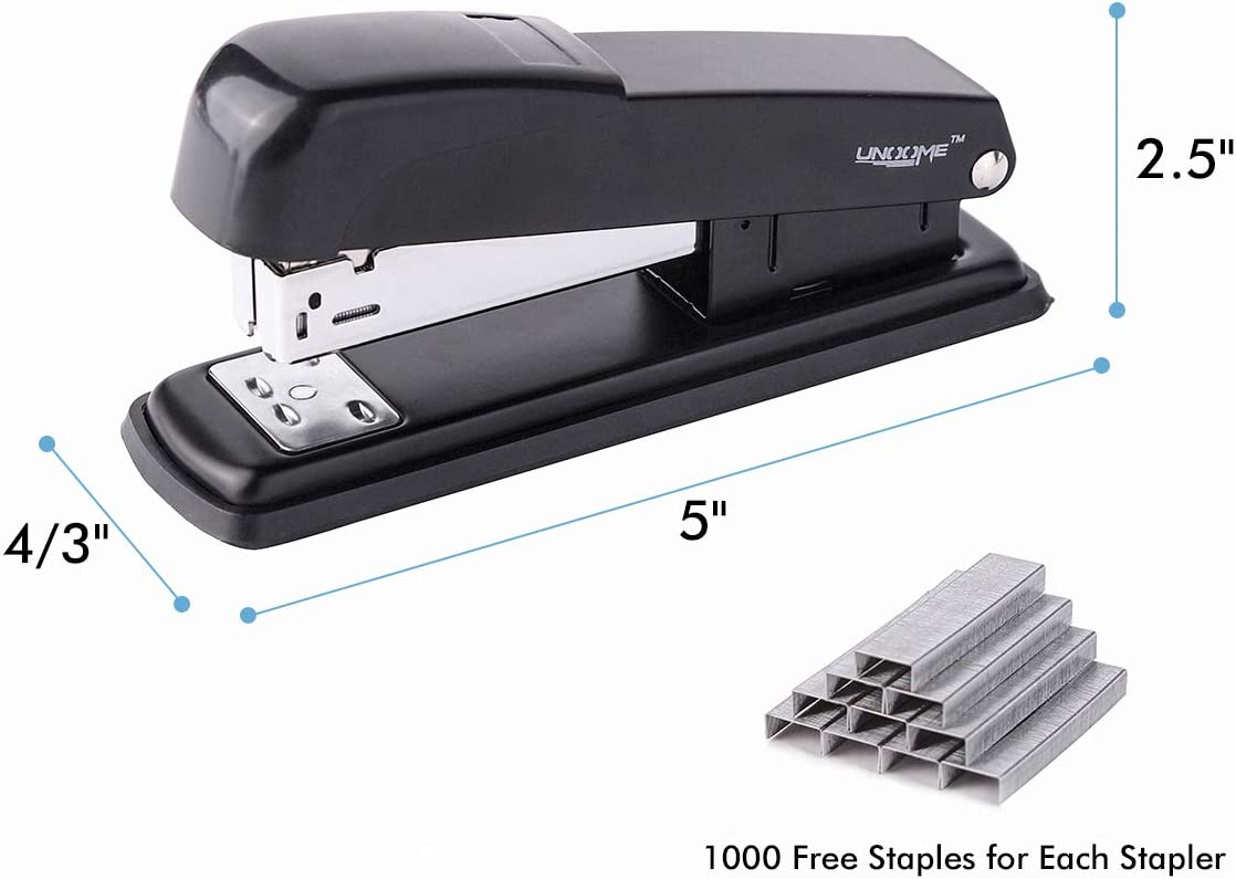 UNooMe Executive Office Desktop Stapler - 6 Pack Metal Desk Stapler with 6000 Staples Commercial Standard Stapler with 20 Sheet Capacity Reduced Effort Spring Powered Stapler : Office Products