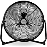 COSTWAY High Velocity Fan 20-Inch 3-Speed Metal Commercial Industrial Grade 360° Floor Fan, Black (20'')