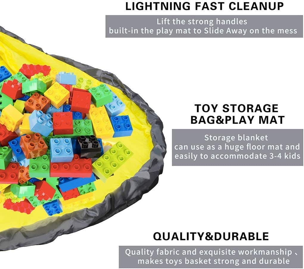 giocattolo Quicky Lego contenitore pieghevole in tela per bambini Micaddy Cestino portaoggetti per giocattoli con tappetino da gioco