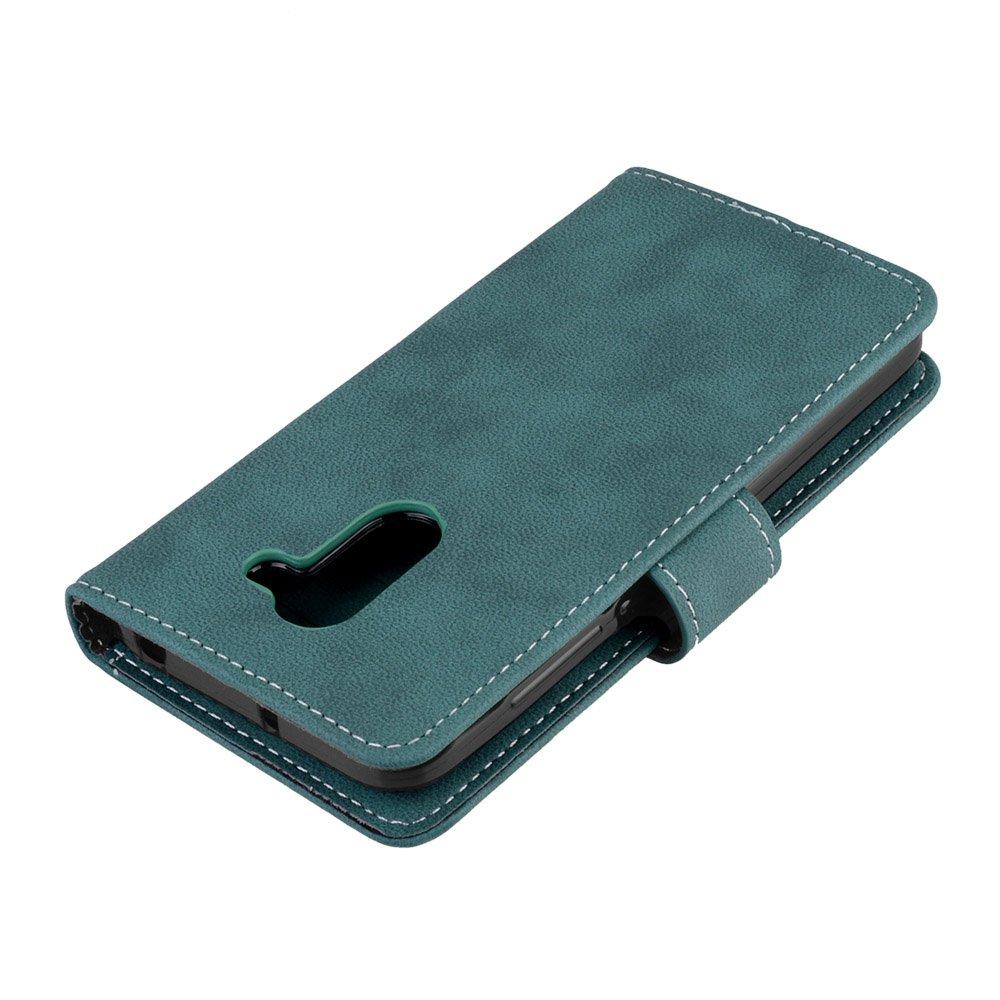 Cuero De La PU Magn/ético Capirotazo Billetera Apoyo Bumper Protector Cover Funda Carcasa Case P/úrpura Para Alcatel A3 Funda Retro Frosted 3 Card Slots