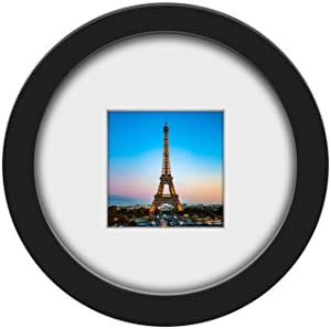 ZETYC 8 Inch Round Picture Frame - Made to Display Pictures 6 Inch Round (with Mat) Or 4 Inch Round (with Mat) Or 8 Inch Round (Without Mat) (8